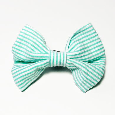 Green and White Seersucker Bow Tie