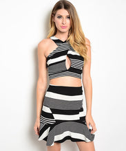 Manito Striped Crop Top and Skirt Set