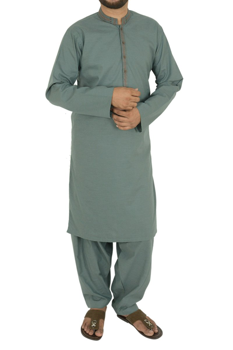 Image of Men Men Shalwar Qameez in S. Green SKU: RQ-40204-Small-S. Green