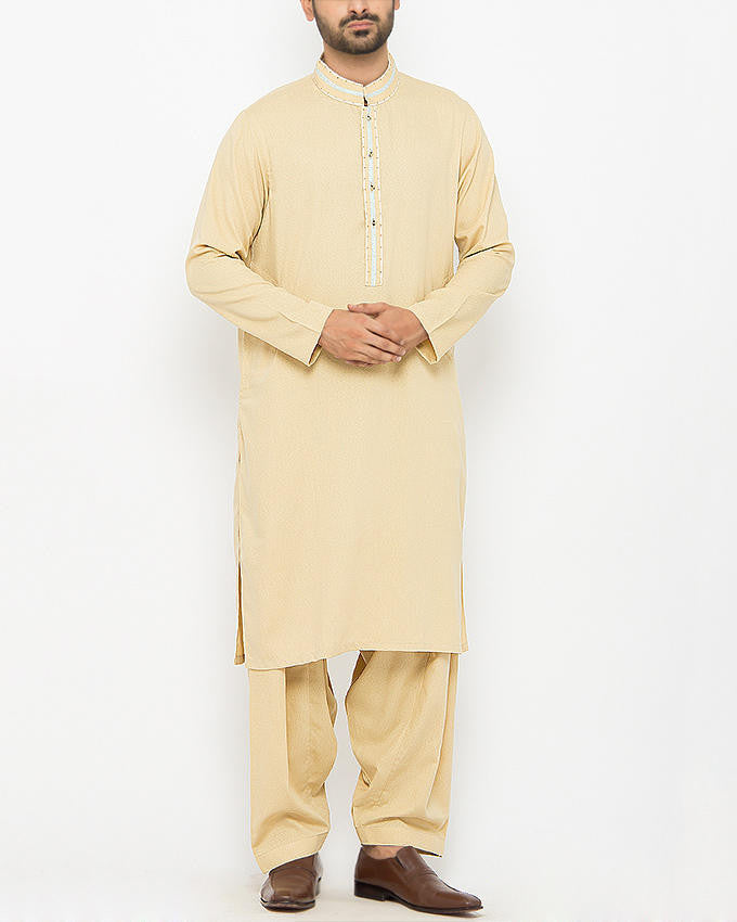Image of Men Men Shalwar Qameez in Light Gold SKU: RQ-15091-Small-Light Gold