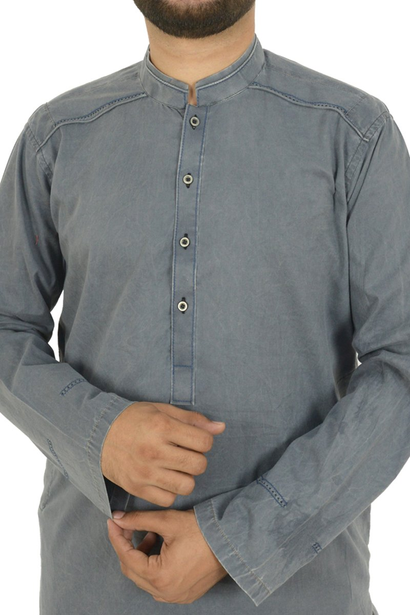 Image of Men Men Kurta in Cement Grey SKU: RDK-40107-Small-Cement Grey