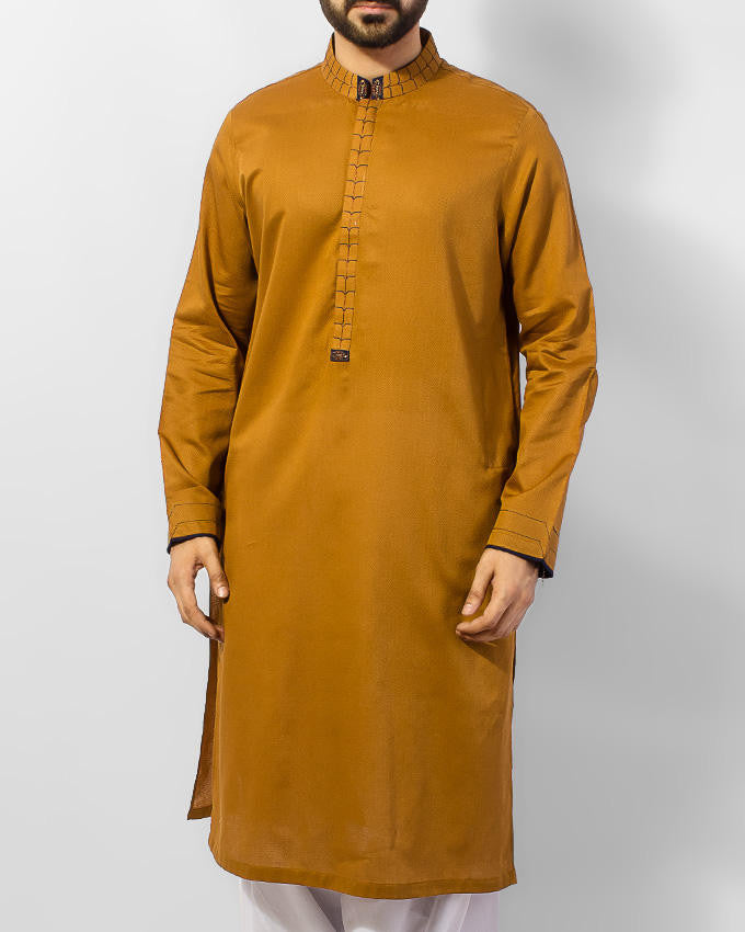 Image of Men Men Kurta in Mustard Brown SKU: RK-15034-Small-Mustard Brown