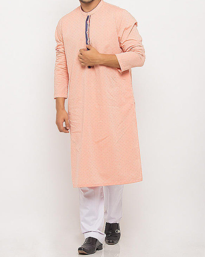 Image of Men Men Kurta in Peach-Orange SKU: RK-15335-Small-Peach-Orange