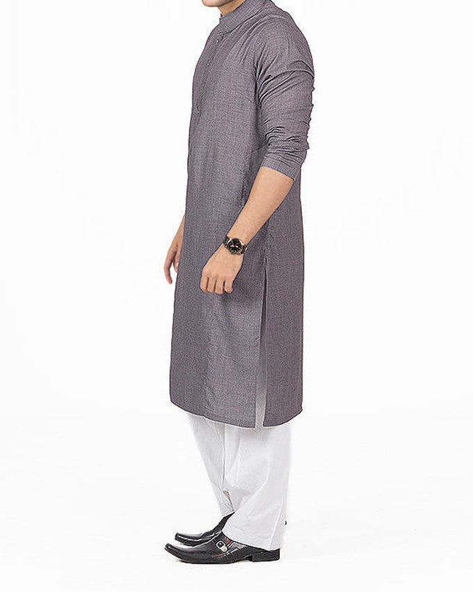 Image of Men Men Kurta in Silver Grey SKU: RK-16146-Small-Silver Grey