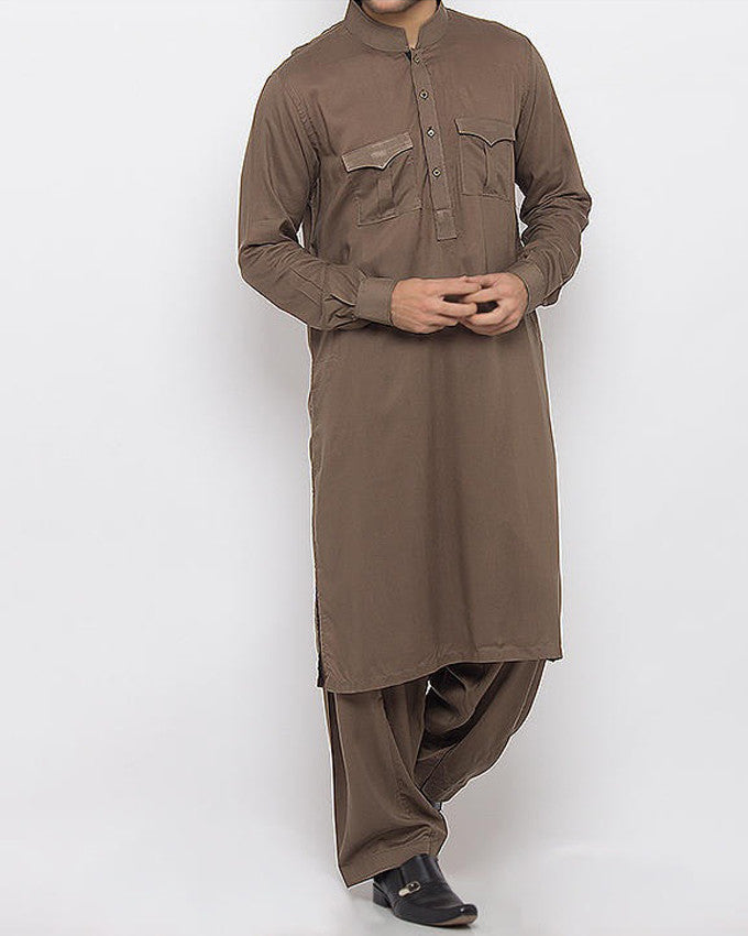 Image of Men Men Shalwar Qameez in Wood Brown SKU: RQ-15346-Small-Wood Brown