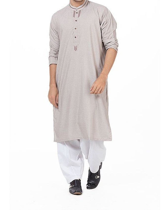 Image of Men Men Shalwar Qameez Smoke Grey Shalwar Qameez Suit in blended fabric with designer applique & Thread Work. Product Code RQ-16162