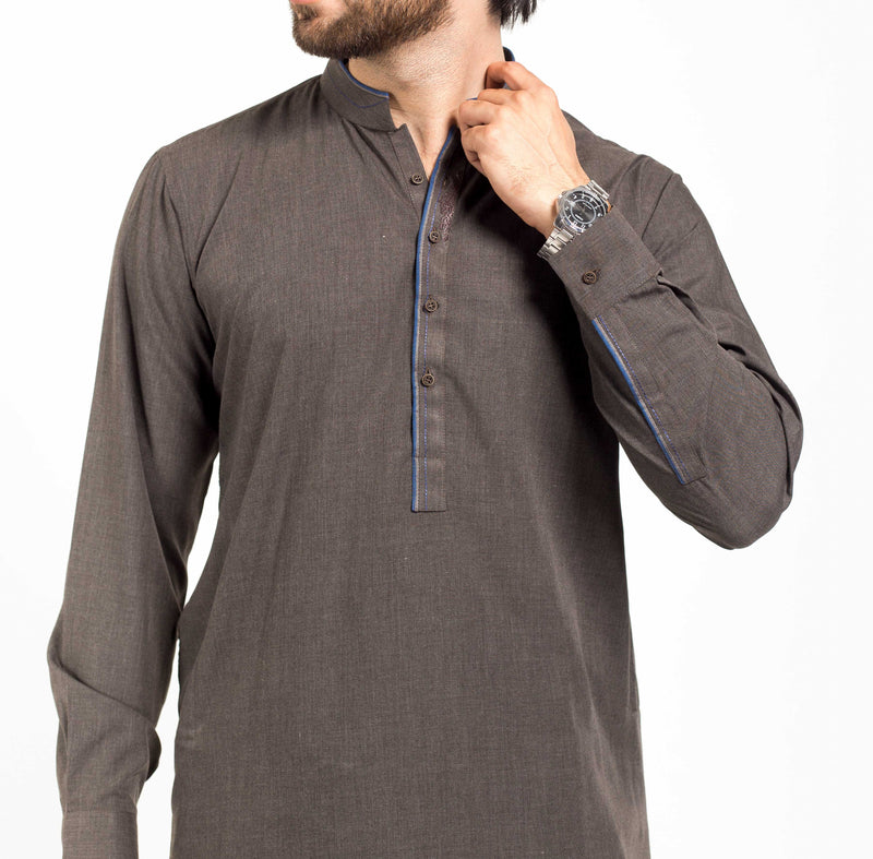 Image of Men Men Shalwar Qameez in Militia Grey SKU: RQ-39146-Small-Militia Grey