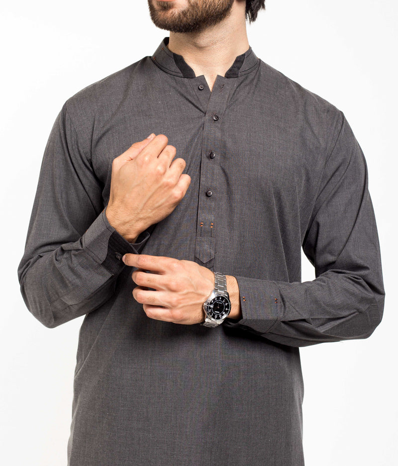 Image of Men Men Shalwar Qameez in Militia Grey SKU: RQ-39205-Small-Militia Grey