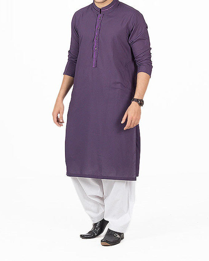 Image of Men Men Shalwar Qameez in Royal Purple SKU: RSK-16145-Small-Royal Purple