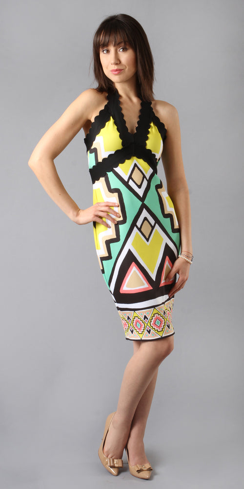 Printed Neoprene Halter Dress