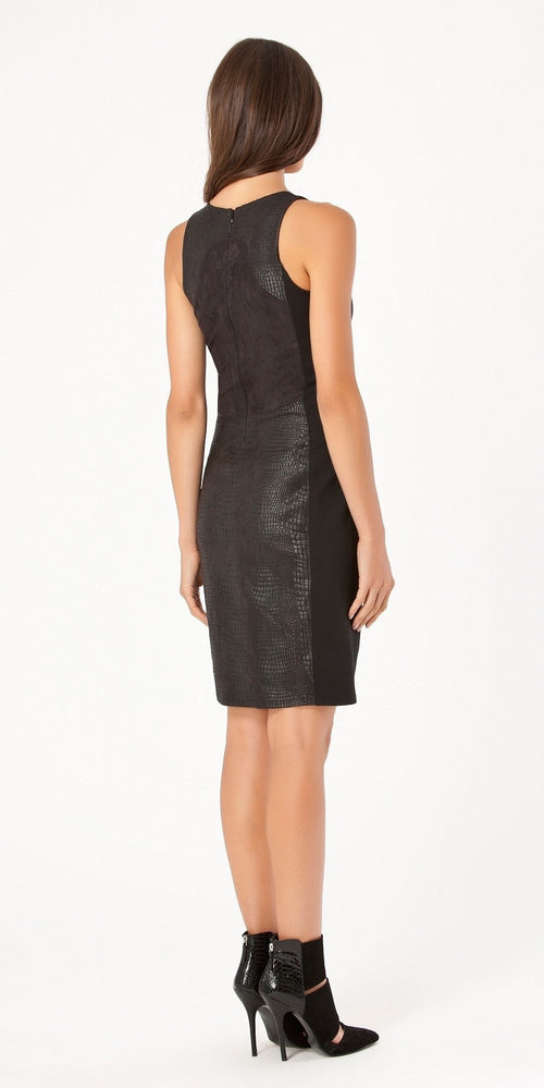 Sleeveless Black Fitted Suede Dress