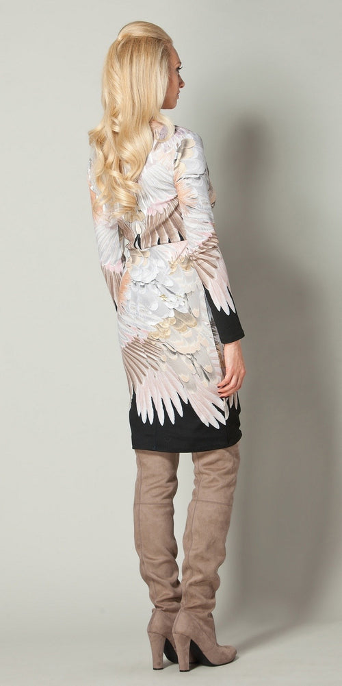 Long Sleeve Beige Fitted Floral Dress