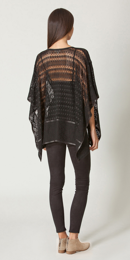 Black Suede And Lace Poncho