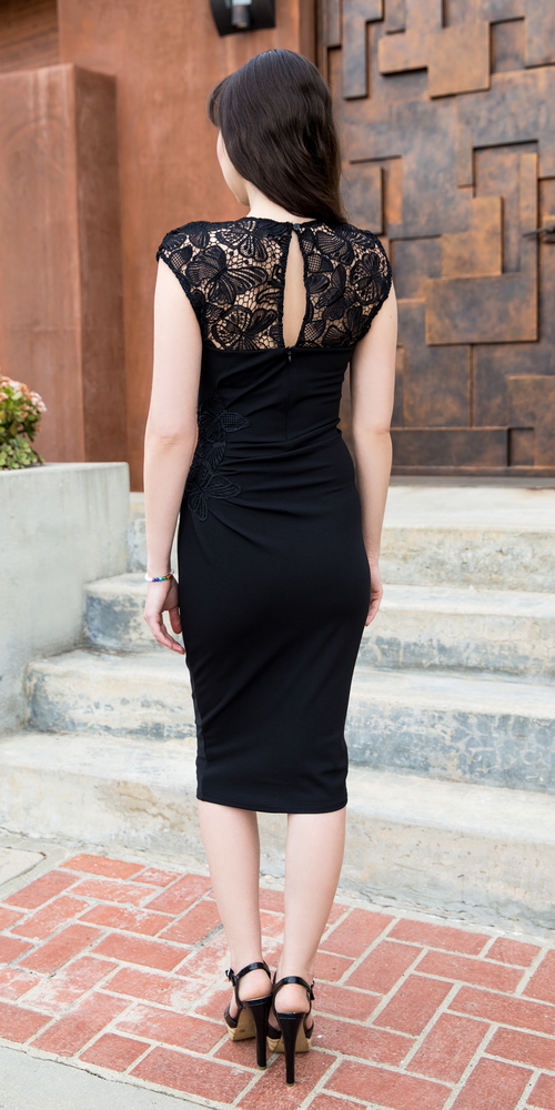 Black Fitted Butterfly Lace Crepe Dress