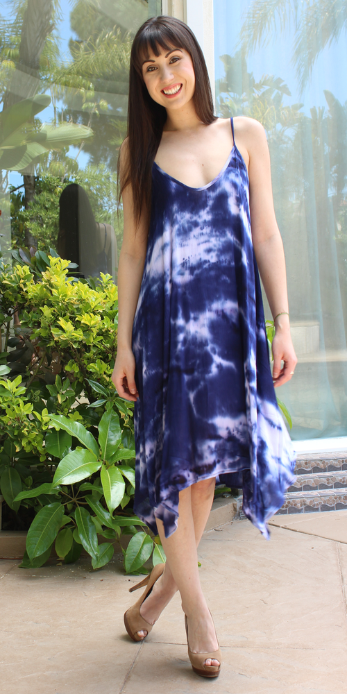 Navy Blue Tie Dye Asymmetrical Sundress