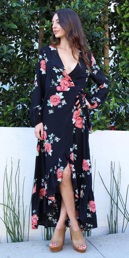 Black Cross Back Wrap Maxi Dress