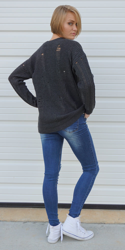 Distressed Over-Sized Boyfriend Sweater