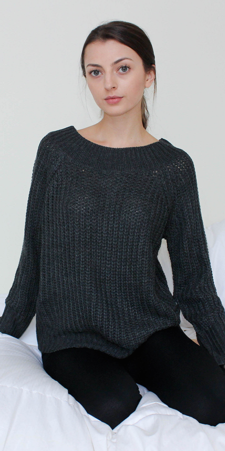 Distressed Choker Neck Sweater