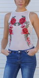 Sleeveless White Floral Mesh Bodysuit