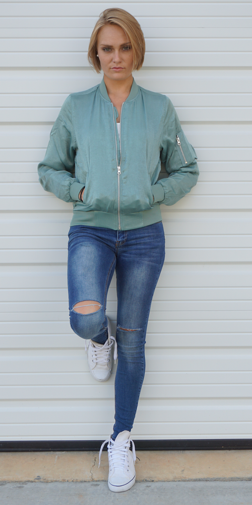 Light Green Brushed Satin Bomber Jacket