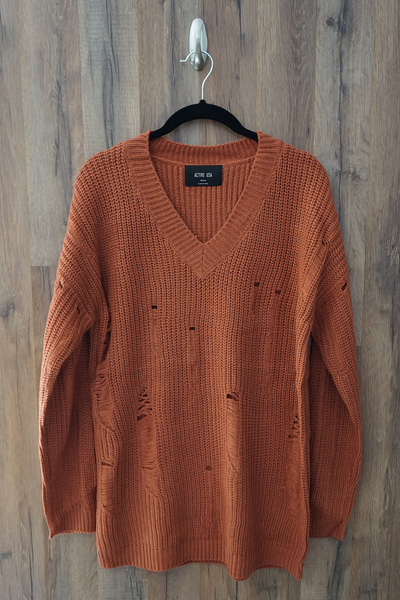Orange Distressed Over-Sized-Boyfriend Sweater