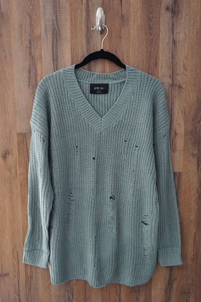 Blue Distressed Over-Sized-Boyfriend Sweater