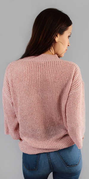 Pink Distressed Choker Neck Sweater
