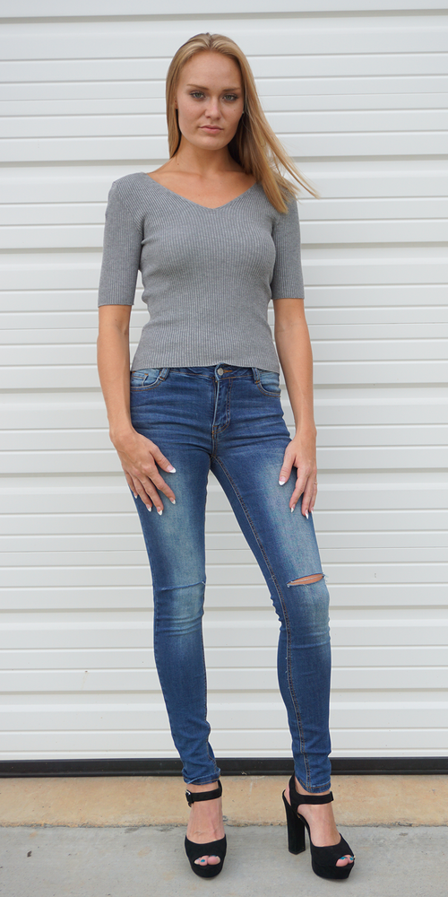Grey Double V Neck Ribbed Sweater Knit Top