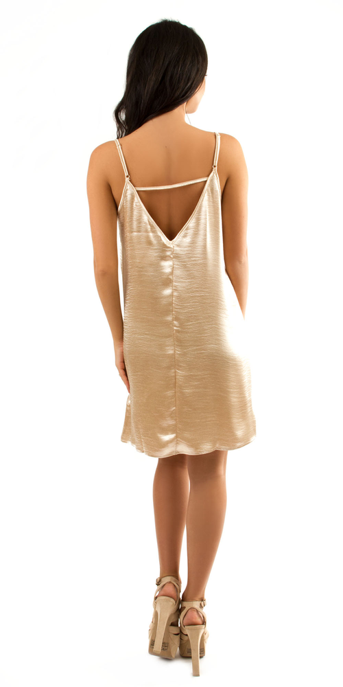 Gold Satin Slip Dress