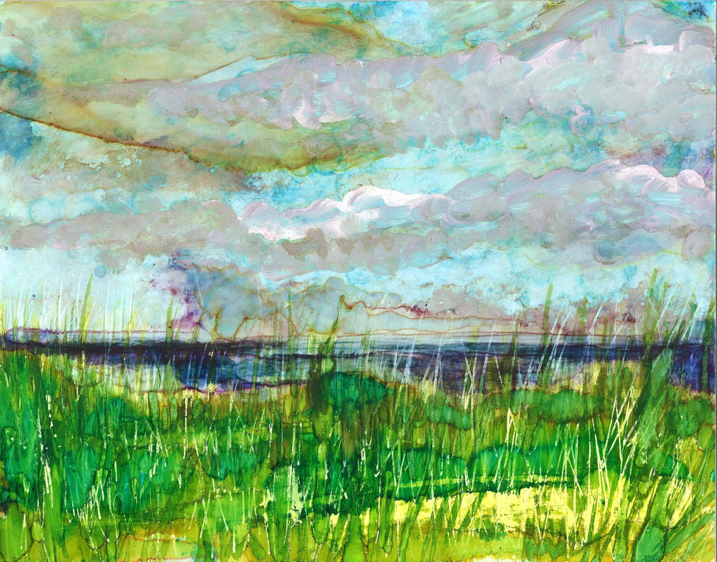 Stormy Beach Original Painting and Greeting Cards