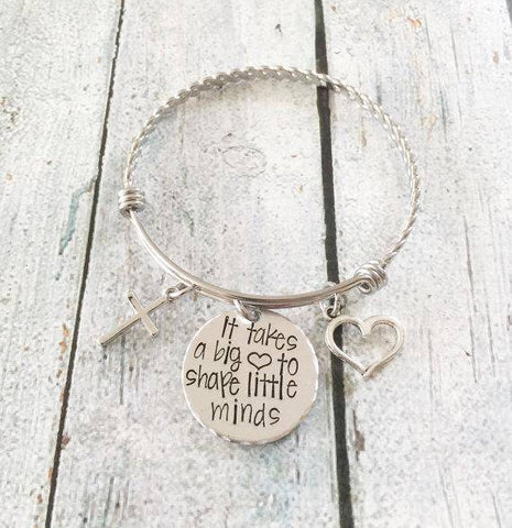 Teacher Appreciation Gift Hand Stamped Bracelet