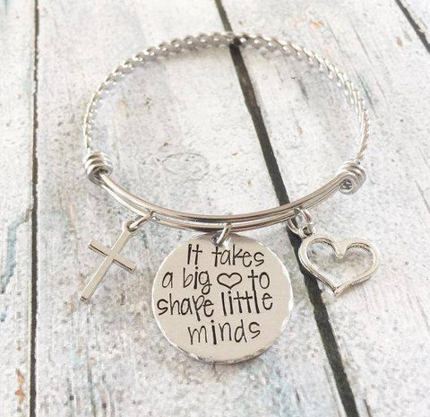 Image of Teacher Appreciation Gift Hand Stamped Bracelet