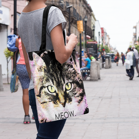 Tabby Cat Face Print Tote Bag