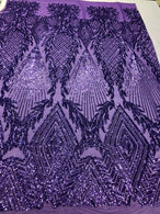 Sequins 4 Way Stretch Shiny Fabric with Triangle Net Pattern - Lilac - Fabric Sold 4 Yards 1/2