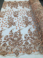 Blush Peach - Mini 3D Flower Embroidered Mesh Sequins And Beaded Fabric Sold By The Yard