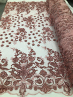 Dusty Rose - Mini 3D Flower Embroidered Mesh Sequins And Beaded Fabric Sold By The Yard