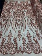 4 Way Stretch - Blush with Nude Mesh - Sequins Pattern Elegant Design Mesh Fabric Sold By The Yard