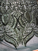 4 Way Stretch - Hunter Green - Fancy Sequins Pattern Design on Mesh Fabric By The Yard