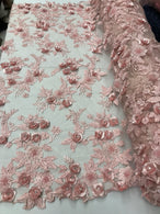 3D Flower Fabric - Pink - Fancy Embroidered Mesh Sequins Fabric with Beads Sold By The Yard