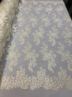 Lace Fabric - Ivory - Flowers Embroidery Sequins Mesh Wedding Bridal Fabric Sold By The Yard