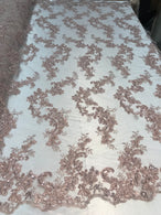 Floral Lace Fabric - Blush - Flowers Embroidery Sequins Mesh Design Fabric Sold By The Yard