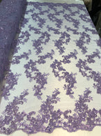 Floral Lace Fabric - Lilac - Flowers Embroidery Sequins Mesh Design Fabric Sold By The Yard