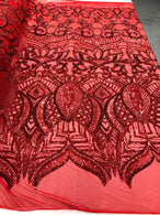 4 Way Stretch - Hologram Red - Sequins Mesh Design Fancy Dress Fabric Sold By The Yard