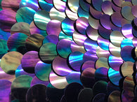 Iridescent - Silver - Circle Sequins Hologram Fabric - Multi-Color Fabric Sold By The Yard