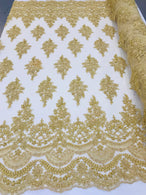 Gold - Hand Beaded Embroidered Flower Pattern Bridal Wedding Lace Fabric Sample
