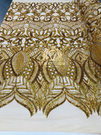 4 Way Stretch - Hologram Gold - Sequins Mesh Design Fancy Dress Fabric Sold By The Yard