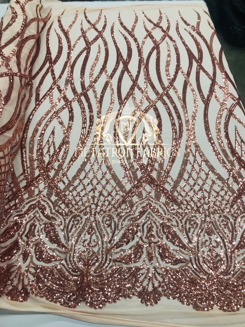 4 Way Stretch - Rose Gold - Vines Design Sequins Fabric Embroidered On Mesh Sold By The Yard