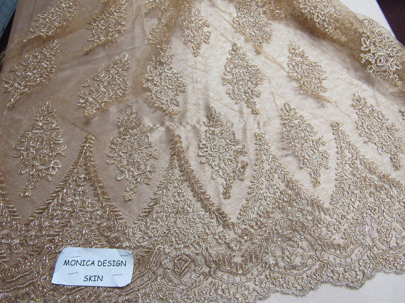Lace Fabric By The Yard French Design Embroidered Mesh For Bridal Wedding Dress Champagne