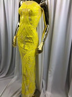 YELLOW 4 Way Stretch Mesh - Sequins Pattern Elegant Design Mesh Fabric Sold By The Yard