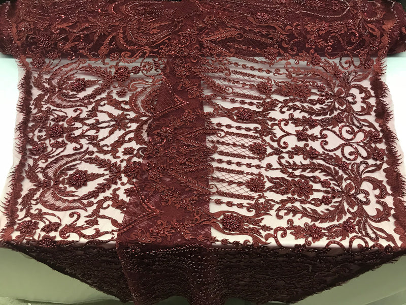 Burgundy Beaded Fabric Embroidered On A Mesh Lace Fancy Dress Fabric Sold By The Yard